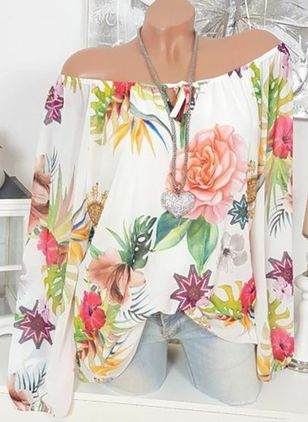 Floral Sexy Off the Shoulder Long Sleeve Blouses