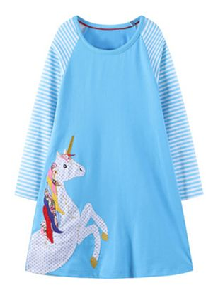 Girls' Casual Animal Daily Long Sleeve Dresses