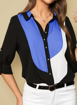 Color Block Collar Long Sleeve Blouses (1227694)