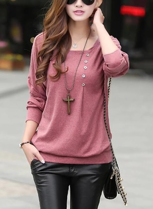Cotton Solid Round Neck Long Sleeve T-shirts