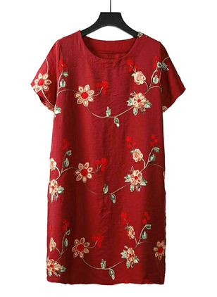 Casual Floral Tunic Round Neckline Shift Dress (4355626)