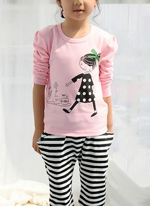Girls' Color Block Round Neckline Long Sleeve Tops