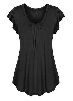 Solid Round Neck Cap Sleeve T-shirts