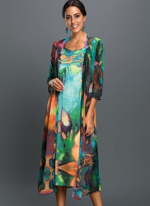 Arabian Floral Wrap Tunic A-line Dress (1289583)