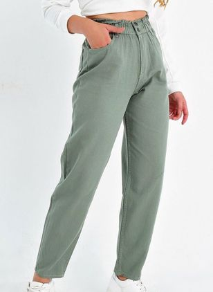 Casual Loose Buttons Pockets Mid Waist Polyester Pants (107251417)
