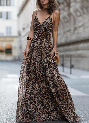 Leopard Slip Sleeveless Maxi A-line Dress (1211950)