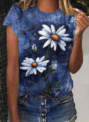 Floral Round Neck Short Sleeve Casual T-shirts (147017591)