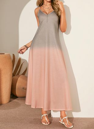 Casual Color Block Slip V-Neckline A-line Dress (1341853)