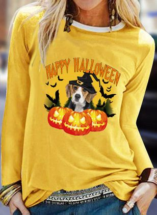 Animal Round Neck Long Sleeve Halloween T-shirts (109973191)