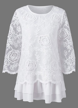 Solid Lace Round Neckline 3/4 Sleeves Blouses