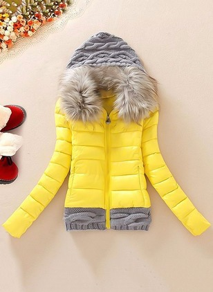 Cotton & Cotton Blend Long Sleeve Hooded Zipper Pockets Unremovable Fur Collar Down Coats