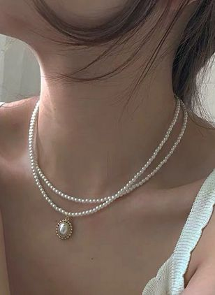 Casual Ball Pearls Pendant Necklaces (4073885)