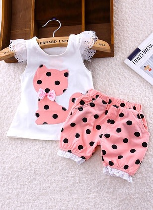 Girls' Polka Dot Daily Sleeveless Clothing Sets