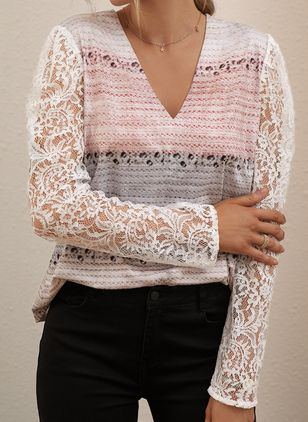 V-Neckline Color Block Casual Regular Lace Hollow Out Sweaters (108858357)