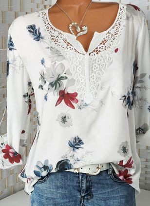 Floral Casual V-Neckline Long Sleeve Blouses (146939103)