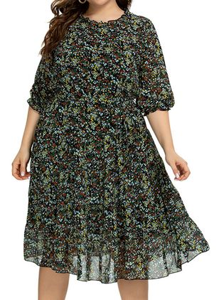 Plus Size Casual Floral Round Neckline Knee-Length X-line Dress (4355740)