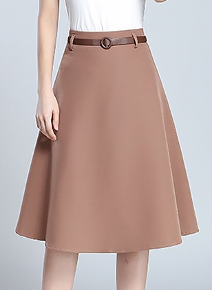 Chiffon Solid Knee-Length Casual Sashes Skirts