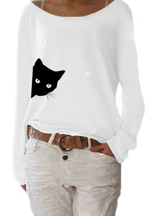 Animal Casual Boat Neckline Long Sleeve Blouses (106703174)