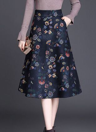 Floral Mid-Calf Casual Pockets Skirts