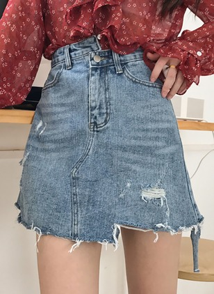 Cotton Ripped Above Knee Skirts
