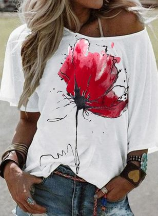 Floral Round Neck Half Sleeve Casual T-shirts (4355854)