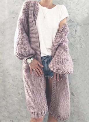 Long Sleeve Collarless Sweaters Coats (146878764)