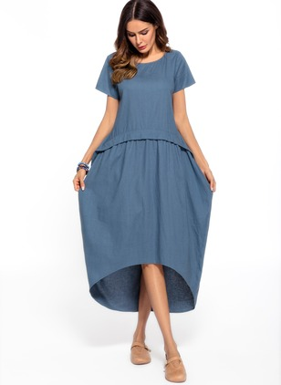 Cotton Solid Short Sleeve High Low Shift Dress