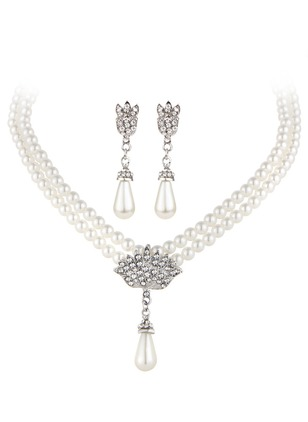 Ball Water Drop Round Pearls Necklace Earring Jewelry Sets