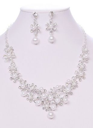Floral Pearls Necklace Earring Jewelry Sets (1475628)
