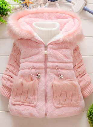 Girls' Cute Solid Hooded Coats