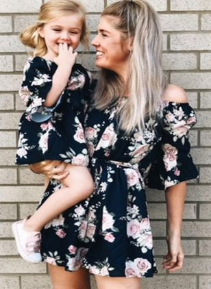 Mommy and Me Floral Casual 3/4 Sleeves Family Outfits (1529821)