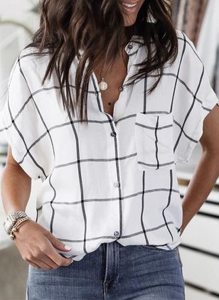 Check Casual Short Sleeve Blouses (147391327)