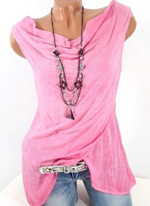Solid Casual Cotton Sleeveless Blouses
