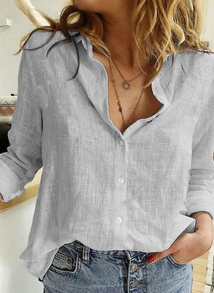 Solid Casual Collar Long Sleeve Blouses (1543674)
