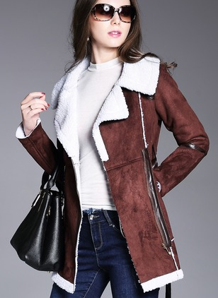 Leather & Faux Leather Long Sleeve Collar Sashes Coats