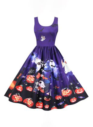 Halloween Color Block Round Neckline Midi X-line Dress (109973453)