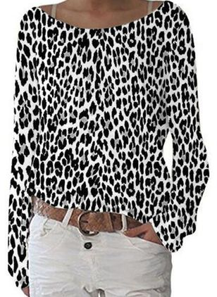 Leopard Boat Neckline Long Sleeve Casual T-shirts (105810515)