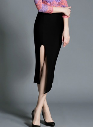 Cotton Solid Mid-Calf Elegant Black Skirts