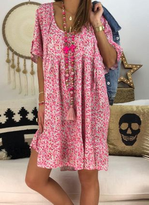 Plus Size Casual Floral Tunic Round Neckline Shift Dress (1514936)