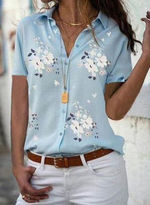 Floral Casual Collar Short Sleeve Blouses (4047045)