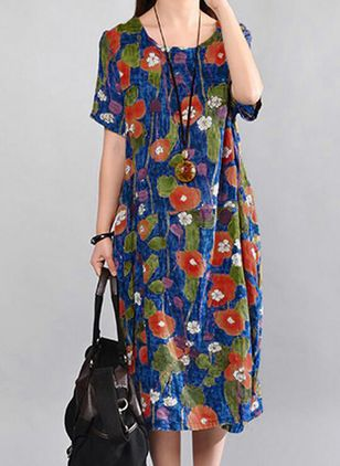 Floral Short Sleeve Midi Shift Dress