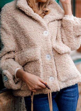 Long Sleeve Lapel Buttons Pockets Fur Coats (146740497)