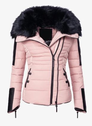 Long Sleeve Hooded Zipper Pockets Removable Fur Collar Parkas Coats (146896987)