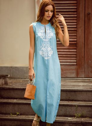 Floral Embroidery Sleeveless Maxi Shift Dress