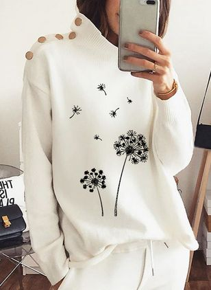High Neckline Floral Casual Regular Shift Sweaters (120649057)