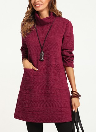 Solid Pockets High Neckline Long Sleeve Shift Dress