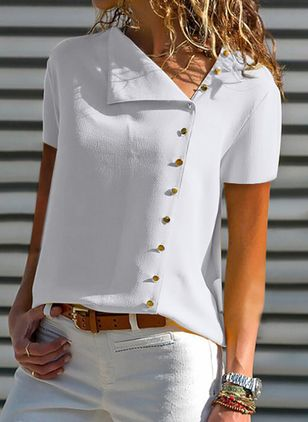 Solid Summer Oblique Neckline Short Sleeve Blouses (1508764)
