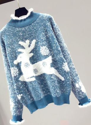 High Neckline Animal Christmas Loose Regular Shift Sweaters (146746777)
