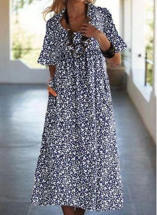 Casual Floral Tunic V-Neckline Shift Dress (4662351)