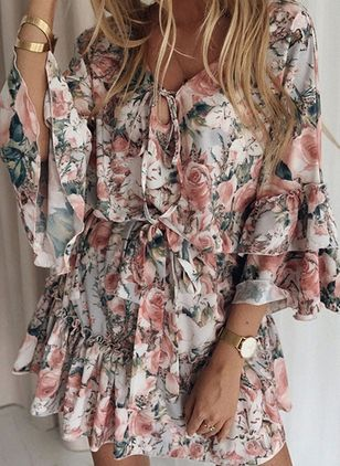 Casual Floral Wrap V-Neckline X-line Dress (147210131)